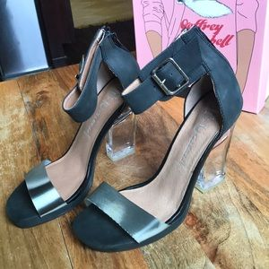 NWB JEFFREY CAMPBELL BLACK CLEAR HEELS Strappy